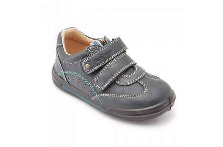Start-Rite Flexy Soft Air, Boys Riptape Leather Shoes, Navy Blue, Size UK Junior 8.5 E