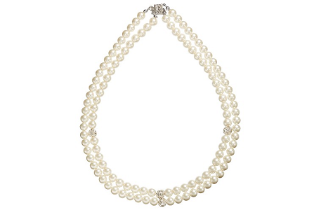 John Lewis Double Row Pave Pearl Necklace, White