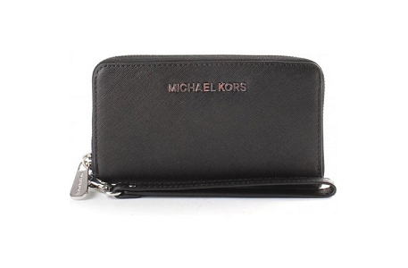 Michael Kors Multifunction Zip Around Saffiano Large Wallet Purse, Black