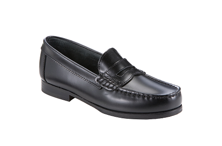 Start-rite Penny High Shine Leather Loafer Shoes, Black, Size UK 2