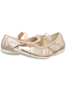 Clarks Dance Puff Inf Ballet Pumps, Pink Rose Gold, Size UK 12 F