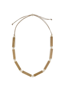 John Lewis Wooden Rectangle Necklace, Brown/Cream