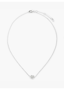 kate spade new york Loves Me Knot Heart Pendant Necklace, Silver