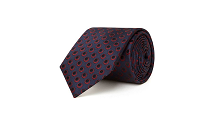 Chester Barrie Men's Navy Silk Tie - Twill Circle Dot