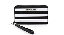 Michael Kors Multifunction Zip Around Saffiano Large Wallet Purse, Black and White Striped