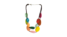 One Button Wood Discs Layered Necklace, Multi
