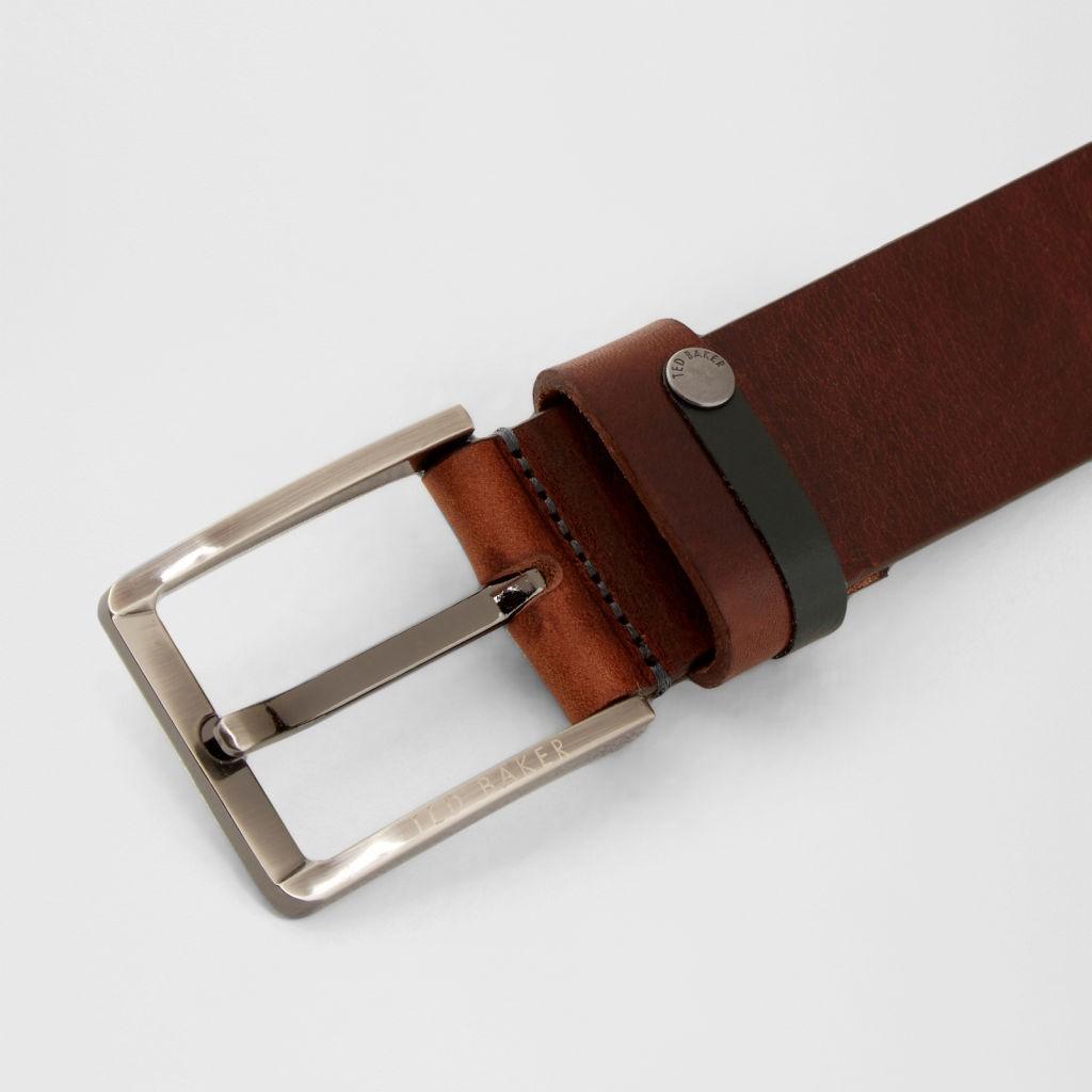 f25a1892e Ted Baker Keepsak Mens Contrast Detail Bovine Leather Belt